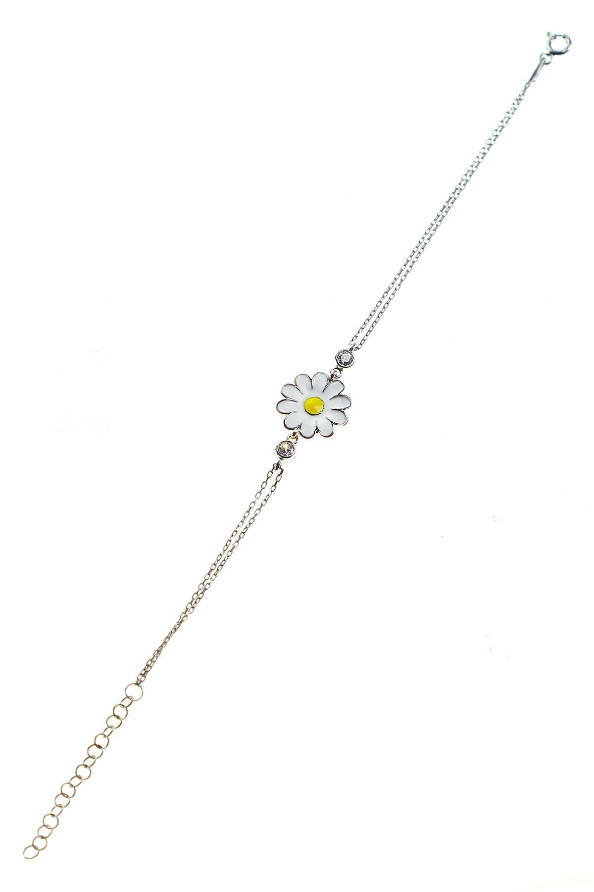 Söğütlü Silver Gümüş rodyumlu mineli papatya kolye bileklik ve küpe gümüş set 2