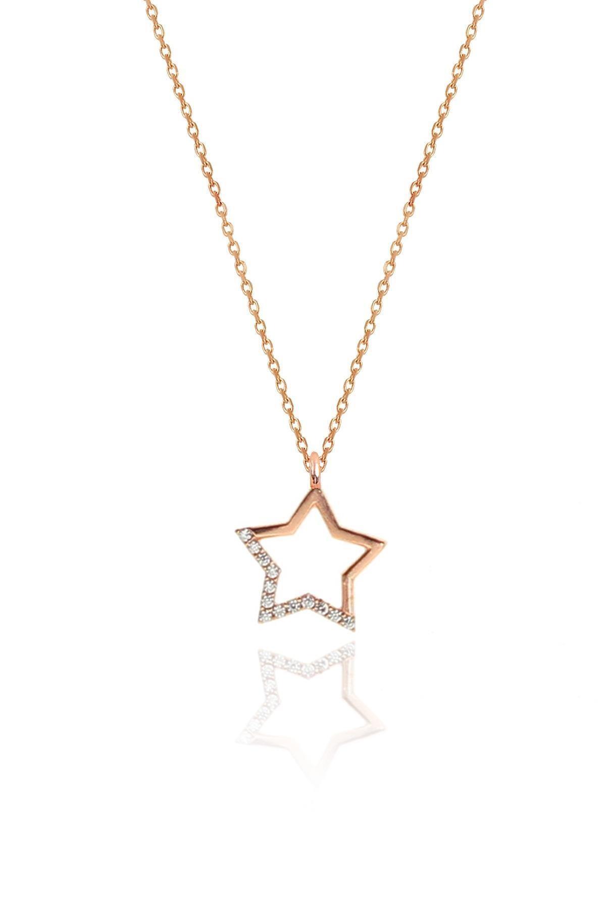 Söğütlü Silver Gümüş rose zirkon taşlı yıldız kolye ve küpe gümüş ikili set 1
