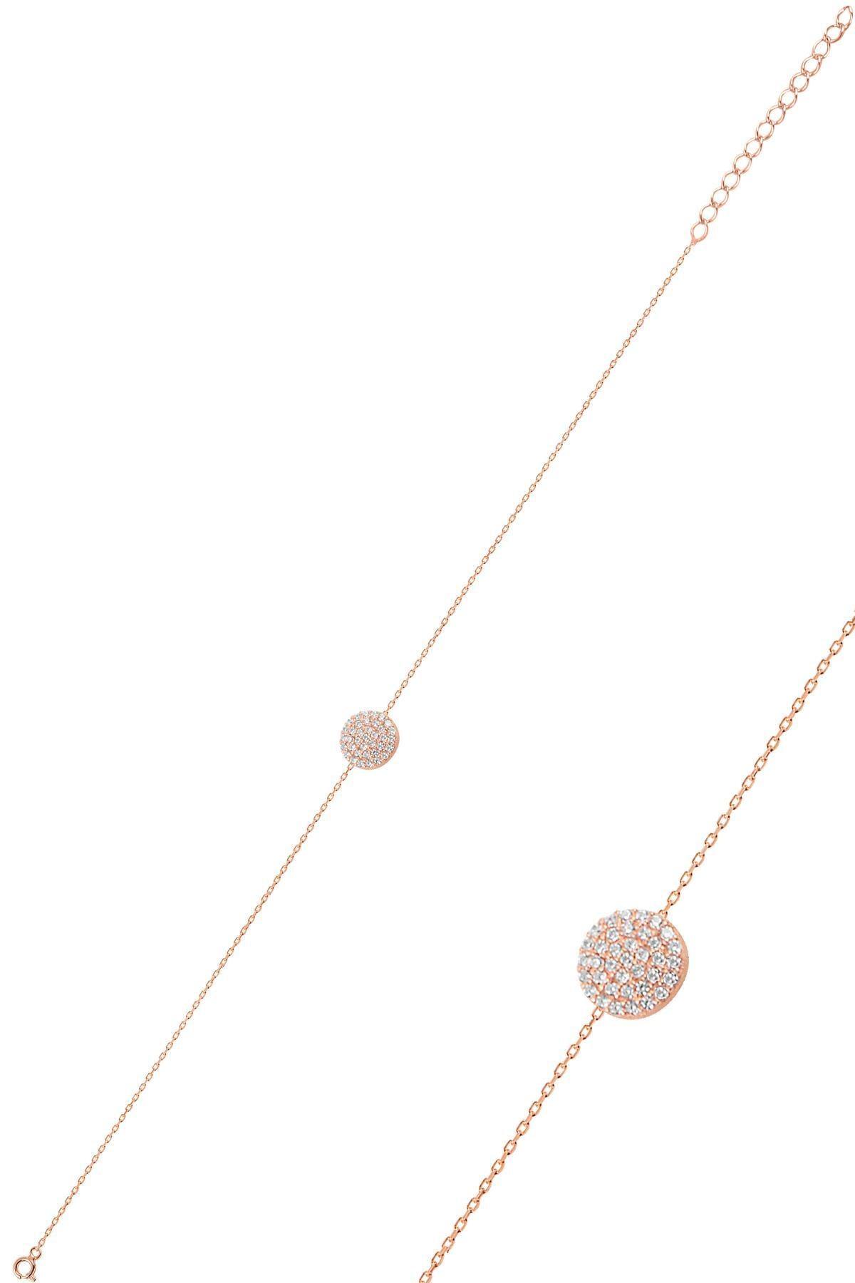 Söğütlü Silver Gümüş rose zirkon taşlı yuvarlak kolye bileklik ve küpe gümüş üçlü set 3