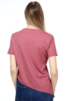 AKDEM GROUP Kadın Pembe Çapraz Crop T-Shirt 4