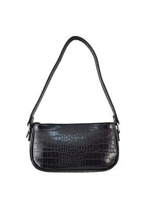 ICONE BAG Kadın Siyah Timsah Desenli Küçük Kol Çantası 2