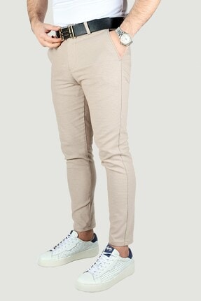 Terapi Men Erkek Bej Keten Pantolon 0