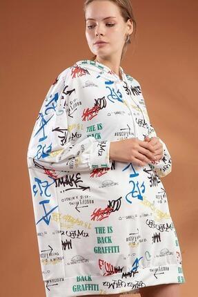 Pattaya Kadın Yazı Baskılı Kapşonlu Oversize Elbise Sweatshirt Y20w110-4125-3 2