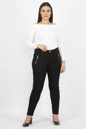 Şans Kadın Siyah Fermuar Detaylı Pantolon 65N20932 2