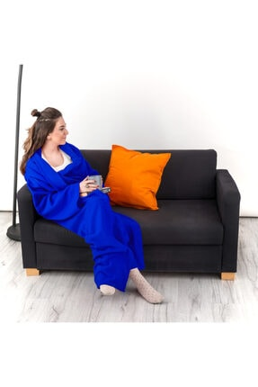 Hediyesepeti Giyilebilir Kollu Mavi Polar Battaniye 1