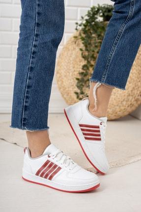 Moda Değirmeni Beyaz Kırmızı Kadın Sneaker Md1053-101-0002 2
