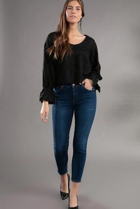 Pattaya Kadın Basic Yüksek Bel Dar Kesim Jeans Pantolon 10270 0