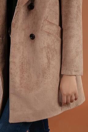 Y-London Kadın Camel  Önü Cepli Kruvaze Fitilli Kadife Ceket  Y19W109-38065 2
