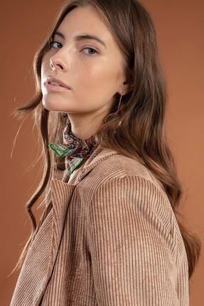 Y-London Kadın Camel  Önü Cepli Kruvaze Fitilli Kadife Ceket  Y19W109-38065 3