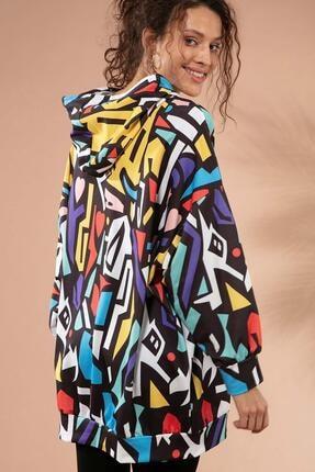 Pattaya Kadın Grafik Desenli Kapşonlu Oversize Sweatshirt Y20w110-4125-28 4
