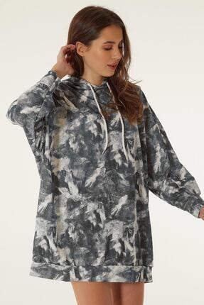 Pattaya Kadın Baskılı Kapşonlu Sweatshirt Elbise P20w-4125-2 0