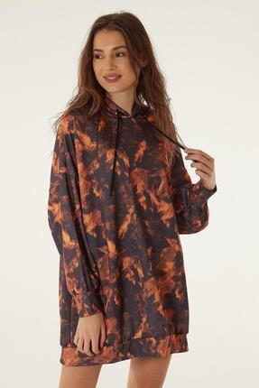 Pattaya Kadın Baskılı Kapşonlu Sweatshirt Elbise P20w-4125-2 2