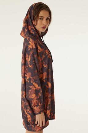 Pattaya Kadın Baskılı Kapşonlu Sweatshirt Elbise P20w-4125-2 4