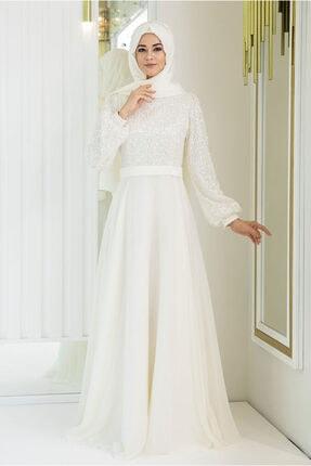 Kadın Ekru Abiye Elbise ALYA002