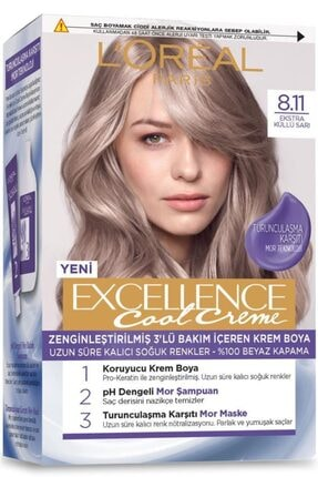 L'Oreal Paris L'oréal Paris Excellence Cool Creme Saç Boyası – 8.11 Ekstra Küllü Sarı 1