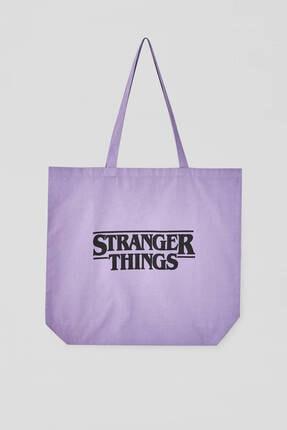 Pull & Bear Stranger Things Yazılı Mor Çanta 0