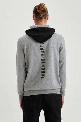 Defacto Unisex Gri Nba Lisanslı Kapüşonlu Slim Fit Sweatshirt 3