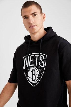 Defacto Fit Erkek Siyah Nba Lisanslı Oversize Fit Kısa Kollu Sweatshirt 2