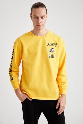 Defacto Unisex Sarı Nba Lisanslı Oversize Fit Bisiklet Yaka Sweatshirt 0