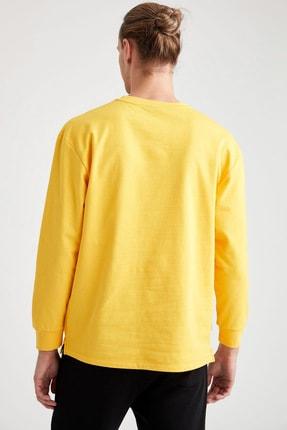 Defacto Unisex Sarı Nba Lisanslı Oversize Fit Bisiklet Yaka Sweatshirt 3