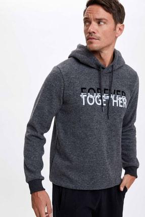Defacto Forever Baskılı Kapüşonlu Regular Fit Sweatshirt 2