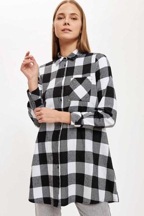 Defacto Kadın Black Red Kareli Cep Detaylı Gömlek Tunik T1162AZ20AU 4