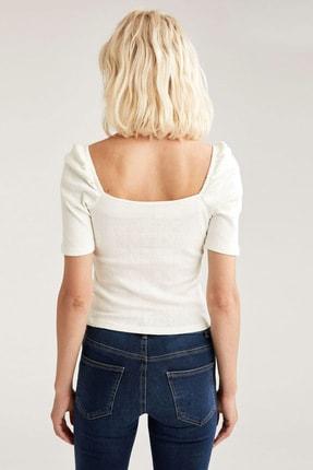 Defacto Kadın Beyaz Kare Yaka Slim Fit Kısa Kollu Body 3