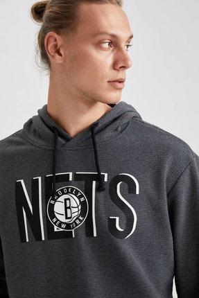 Defacto Erkek Gri Nba Lisanslı Kapüşonlu Oversize Fit Sweatshirt 2