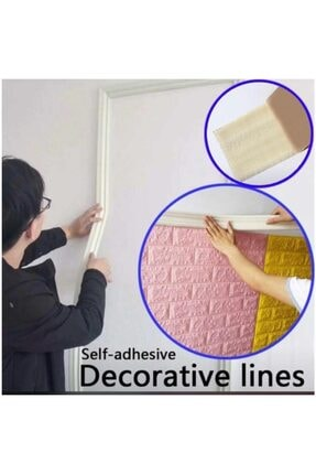 Renkli Duvarlar Nwçıta01 Beyaz 8cm-117cm Dekoratif Yapışkanlı Kenar Çıtası 2