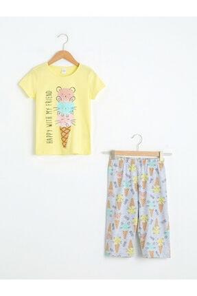 LC Waikiki Kız Çocuk Sarı Pijama Takımı 0