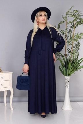 Şirin Butik Kadın Büyük Beden Lacivert Renk Kravat Yaka Detaylı Viskon Elbise 1