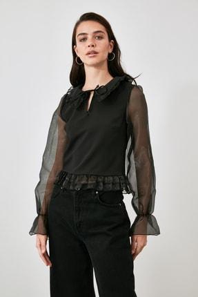 TRENDYOLMİLLA Siyah Tül Detaylı Bluz TWOAW21BZ1577 0