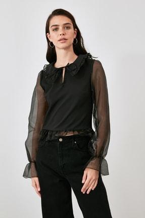 TRENDYOLMİLLA Siyah Tül Detaylı Bluz TWOAW21BZ1577 2