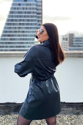 Kavuniçi Butik Kadın Siyah Kuşaklı Deri Gömlek Elbise 2