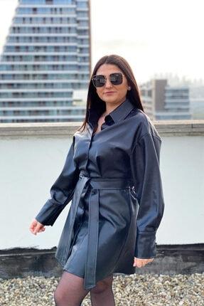 Kavuniçi Butik Kadın Siyah Kuşaklı Deri Gömlek Elbise 3