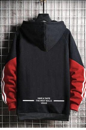 WEST BULLS Star Unisex Siyah Kapüşonlu Baskılı Sweatshirt 1