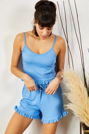 Olalook Kadın Bebe Mavi Askılı Fırfırlı Pijama Takımı TKM-19000076 2
