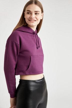 Defacto Basic Kapüşonlu Relax Fit Crop İçi Polarlı Sweatshirt 0