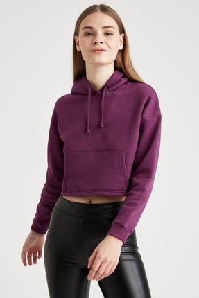 Defacto Basic Kapüşonlu Relax Fit Crop İçi Polarlı Sweatshirt 4