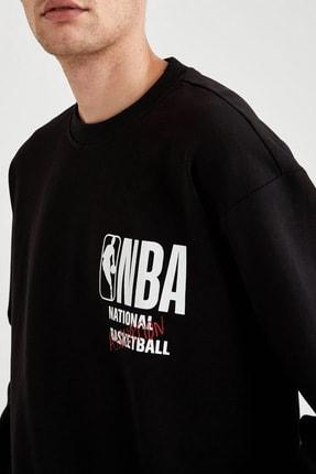 Defacto Fit Erkek Black Red Nba Lisanslı Oversize Fit Sırtı Baskılı Sweatshirt T6213AZ20CW 2