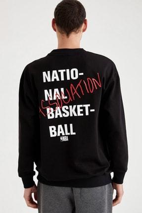 Defacto Fit Erkek Black Red Nba Lisanslı Oversize Fit Sırtı Baskılı Sweatshirt T6213AZ20CW 3