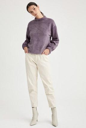 Defacto Dik Yaka Balon Kollu Pelüş Sweatshirt 1