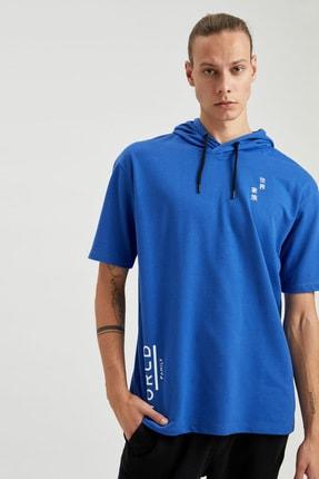 Defacto Erkek Mavi Oversize Fit Kapüşonlu Kısa Kollu Sweatshirt 0