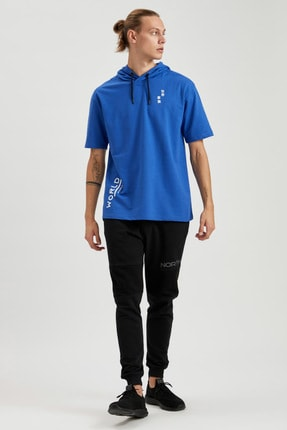 Defacto Erkek Mavi Oversize Fit Kapüşonlu Kısa Kollu Sweatshirt 1