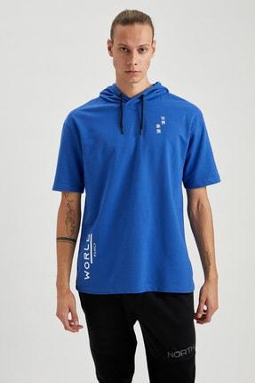Defacto Erkek Mavi Oversize Fit Kapüşonlu Kısa Kollu Sweatshirt 4