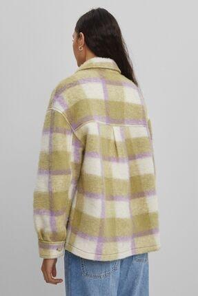 Bershka Kareli Oversize Yünlü Ince Ceket 1