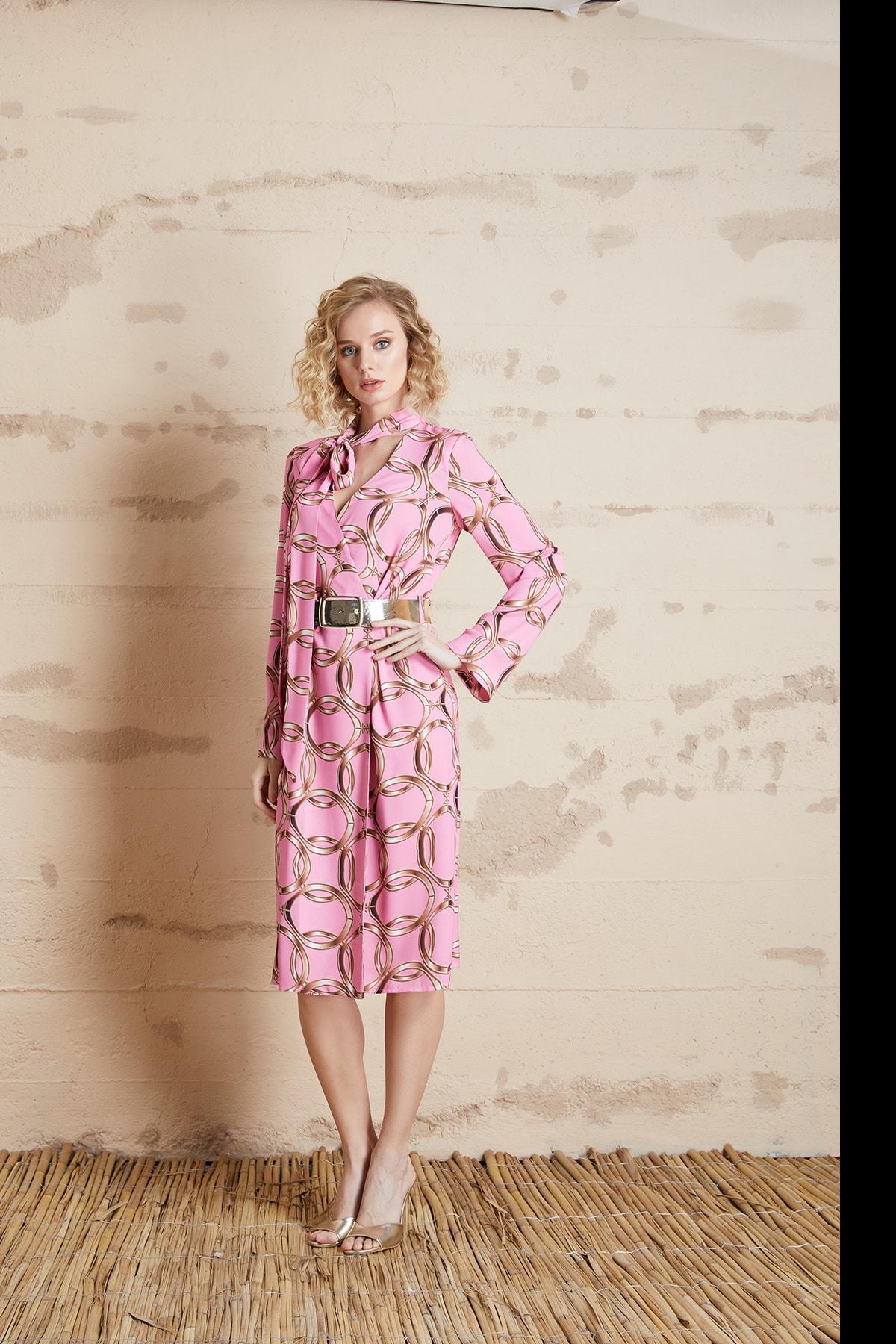 Kadın Pudra Zincir Desenli Fularlı Elbise 32277