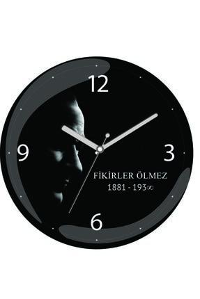 3M Atatürk Fikirler Ölmez Sessiz Akar Bombeli Gerçek Cam Duvar Saati 0