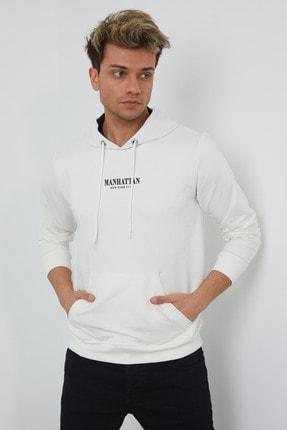 MRS CLOTHING Erkek Beyaz Baskılı Kapüşonlu İnce Sweatshirt 0
