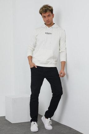MRS CLOTHING Erkek Beyaz Baskılı Kapüşonlu İnce Sweatshirt 1